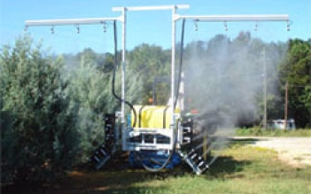 Coffee And A Fruit Tree Sprayer For Canopies Up To 4 Meters In Height With Adjule Angled Top Booms Mounted On Wheeled Trailer Or Tractor